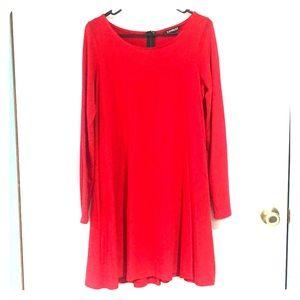 Express Red Long Sleeve Shirt Dress